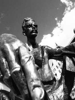 Close up of Attila Jozsef's statue
